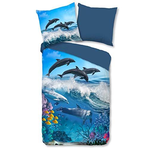 ESPiCO Bettwäsche Trendy Bedding Delfine Tiermotiv Unterwasserwelt Ozean Fische Meer Renforcé, Größe:135 cm x 200 cm