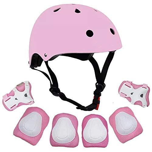 GXFLO Kinder verstellbare Helm Sport-SchutzAusrüstung Set Knie-EllenBogen-Handgelenk-Pads für Roller-Fahrrad-Skateboard und andere Extreme sportliche Aktivitäten,Pink