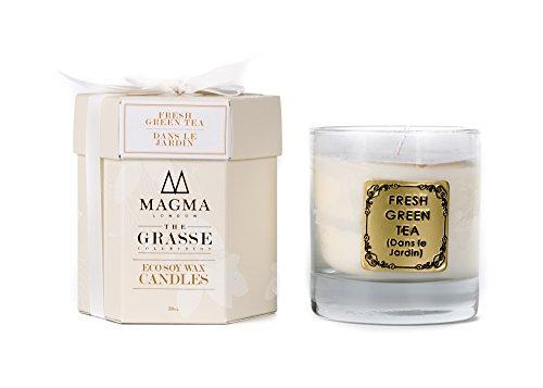 Magma London Grande bougie parfumée - Coffret cadeau de luxe - 38 cl - Parfum thé vert frais - Aromathérapie - Collection Grasse