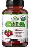 Zazzee USDA Organic Cranberry Extract, 12,500 mg Strength, 100 Vegan Capsules, USDA Certified Organic, Potent 25:1 Extract, Made from Fresh Whole Organic Cranberries, Vegan, All-Natural and Non-GMO