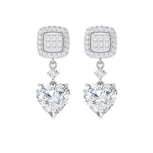 Rosec Jewels 18 quilates oro blanco corazón Round Brilliant Moissanite
