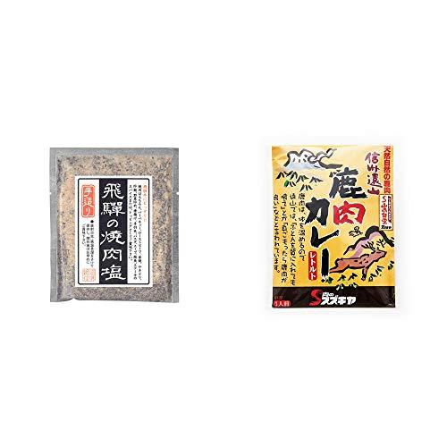 [2点セット] 手造り 飛騨の焼肉塩(80g)・信州遠山 鹿肉カレー 中辛 (1食分)