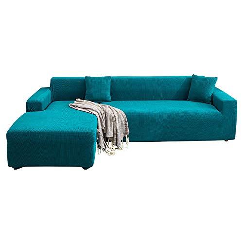 LKJHGF Housse de Canapé D'angleextensible con accoudoirs Couverture de Canapé en Forme de L Revêtement de Canapé en Tissu Élastique-Shilan Azul 4 plazas + 3 plazas
