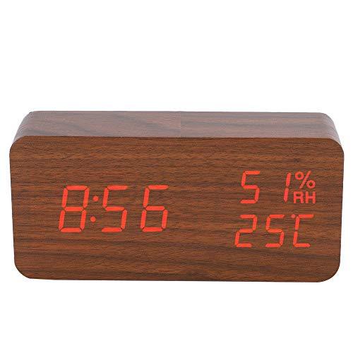 Reloj despertador digital de madera, LED rectangular de madera, luz roja, relojes...