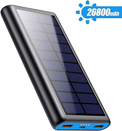 Solar Charger Power Bank 26800mah, 2 USB Output Fast Phone Portable Charger Power Bank Cell Phone Solar Battery Bank Pack External Backup Pack for iPhone, Samsung Galaxy Android, iPad Tablet [2020 Newest Design]