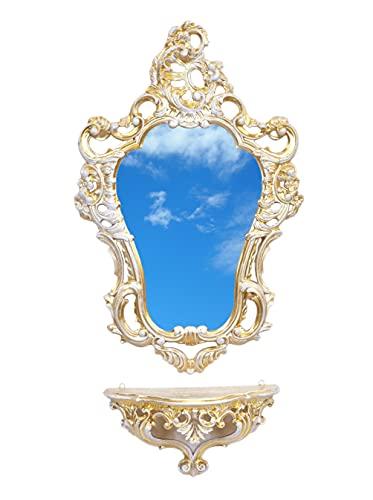 Ideacasa - Miroir + étagère console style baroque vénitien Louis XVI imitation vintage