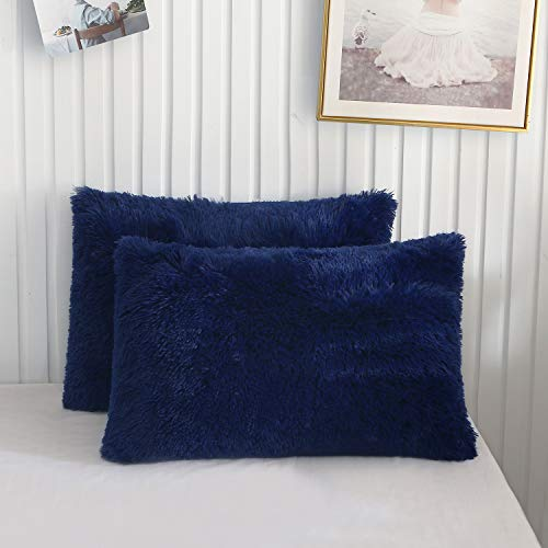 XeGe Faux Fur Throw Pillow Cases Plush Shaggy Ultra Soft Pillow Cover Fluffy Crystal Velvet Decorative Pillowcases Zipper Closure,Set of 2(Standard, Navy Blue)