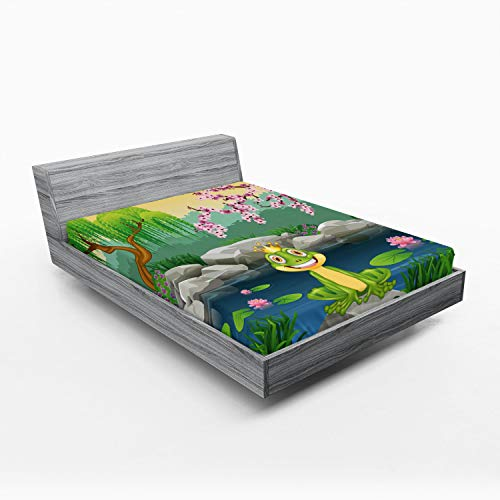 Ambesonne King Fitted Sheet, Fairytale Inspired Little Frog Prince Near Lake on Moss Rock with Flowers Image, Soft Decorative Fabric Bedding All-Round Elastic Pocket, Full Size, Multicolor