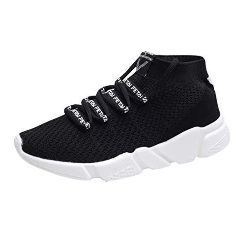 Jodier Hombre Zapatillas de Correr Malla Casual Calzado de Deporte Transpirables Zapatos Deportivos con Cordones Moda de Running Zapatillas Canvas de Lona Unisex Mujer Hombre Color Blanco