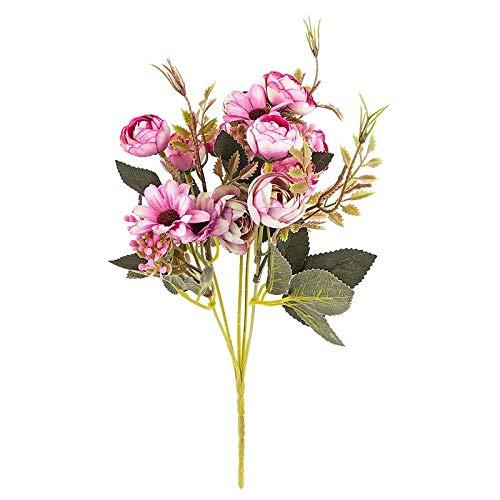 Ideen mit Herz Künstliches Blumenarrangement | Blumenstrauß | Blütenbusch | verschiede Blumen und Farben, 28 cm hoch, Blüten Ø ca. 3-4 cm (Beere, Rosen & Margeriten)