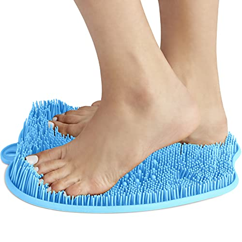 Shower Foot Massager Scrubber - Improves Foot Circulation & Reduces Foot Pain - Soothes Tired Achy Feet And Scrubs Feet Clean - Non Slip With Suction Cups
