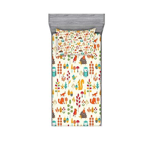 Ambesonne Children Fitted Sheet & Pillow Sham Set, Kids Autumn Pattern Owl Fox Squirrel Birds Animal Leaves Print, Decorative Printed 2 Piece Bedding Decor Set, Twin, Cream Orange