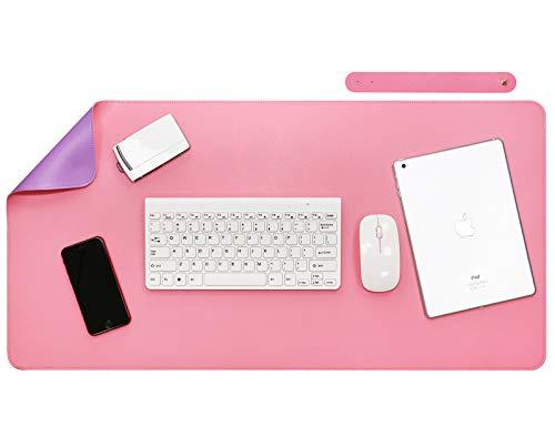 Olrla Tappetino da scrivania su due lati, assorbente da scrivania in pelle PU 40 x 80 cm, sottomano da ufficio, tappetino da scrivania per laptop da donna, tappetino da scrivania (viola/rosa)