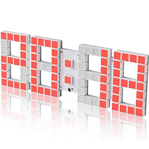 LYM klokken wandklok digitaal groot display LED wekker zware slaper 16 alarmen instellingen tafelklokken woonkamer decor stopwatch temperatuur 20 m afstandsbediening dimmer date stereoscopische wandklokken
