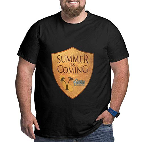 ludouqingJ Camisetas y Tops Hombre Polos y Camisas, Summer is Coming Men's Cotton Big & Tall Short-Sleeve Loose-Fit Heavyweight Crewneck T-Shirt