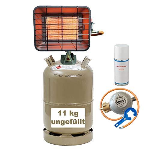 IOE Gas-Heiz-Strahler aus Alu-Druckguss mit Piezo, Zündsicherung, Gasflasche 11kg, Gasregler 50mbar, Gasschlauch, Lecksuchspray Gasregler-Löser