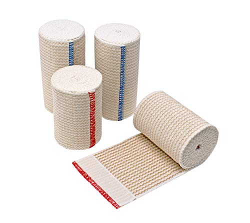 GT Soft   Latex Free   Organic USA Cotton Elastic Bandage   Set of Two 4 inch & Two 3 inch Wraps   Washable Reusable (Hook & Loop Closure Both Ends, Beige)