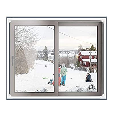 """Window Insulation Kit Max 72""""x 48"""" Fits Any Size Smaller with Heavy Duty Window Insulation Film White Frame Warm in Winter and Cool in Summer"""