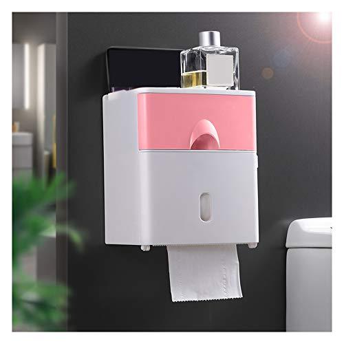 WXXSL Moderno Portarotolo Bagno, ABS Impermeabile Montaggio Parete Portarotolo Carta Igienica Nessuna Perforazione Deposito Tessuto Bagno 17,6×13,6×20,6cm,Rosa