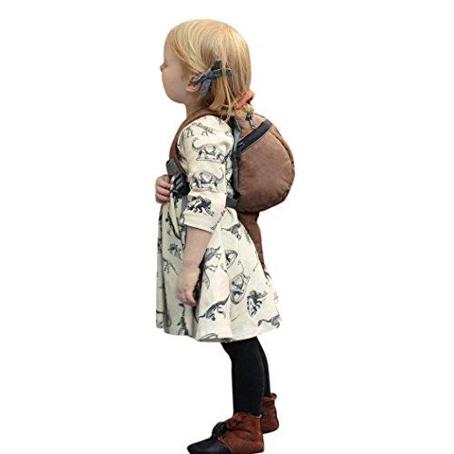 Beikoard Niña Vestido, bebé niñas Vestidos para 0–18Meses para bebé bebé niñas Cartoon Dinosaur Print Sol Vestidos Ropa Trajes Beige 90