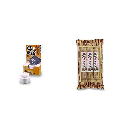 [2点セット] 信州木曽 くまのあぶら 熊油スキン&リップクリーム(9g)・スティックようかん[栗](50g×3本)