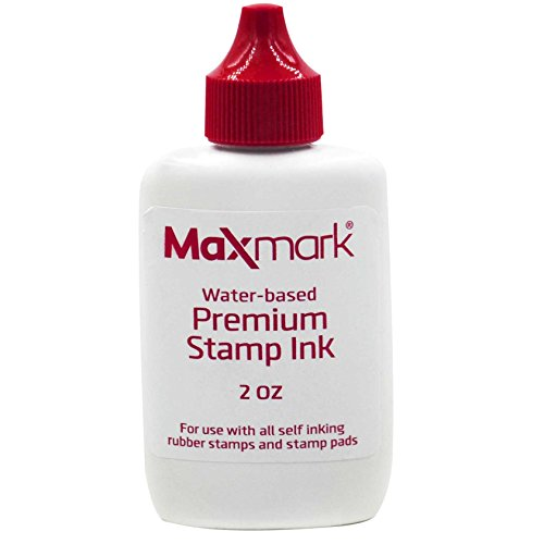 MaxMark Premium Refill Ink for self Inking Stamps and Stamp Pads, Red Color - 2 oz.