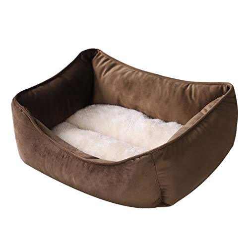 N / N Self-Warming Dog Beds, Calming Rectangle Washable Pet Bed with Firm Breathable Cotton for Cats, Sleeping Orthopedic Bed (Small, Brown)