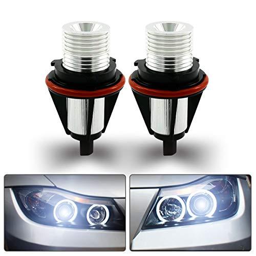 Maso - Bombillas de anillo LED de iluminación diurna, halógenas, para angel eyes, sin errores, repuesto para E39, E87, E60, E63, E65, E66 y E53, xenón blanco