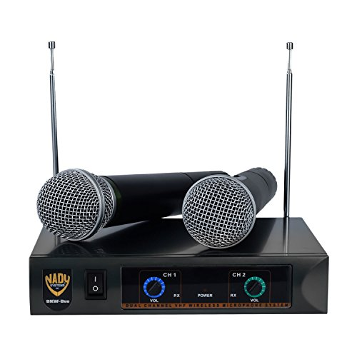 Nady DKW DUO HT B/D VHF Dual Wireless Handheld Microphone System – includes 2 microphones, AC...