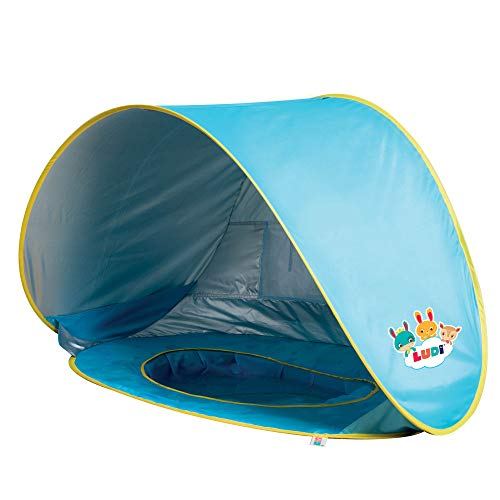 Tente et piscine pop-up par Ludi | en tissu avec protection UV 50 – dès 10 mois – tente composée d'une piscine et d'un auvent | Piscine de plage - 2206 (serviette pas inclus)