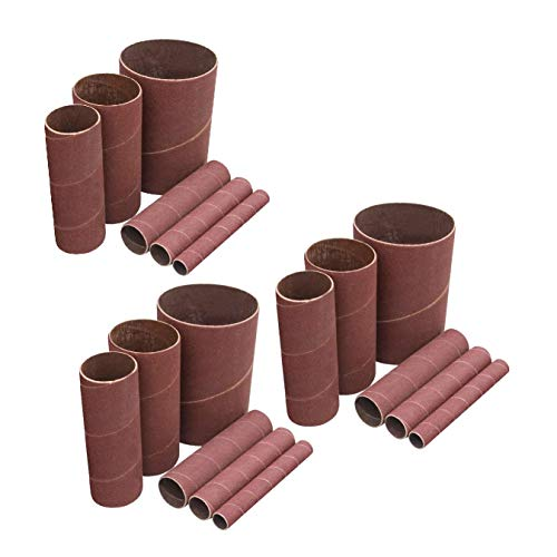 POWERTEC 11240 4.5 Inch Sanding Sleeves for Spindle Sander in 6 Sizes with Assorted Grits 80, 120, 240 | Aluminum Oxide Sandpaper Sanding Sleeve Assortment in Dia. 1/2, 3/4, 1, 1-1/2, 2 & 3-18 PK