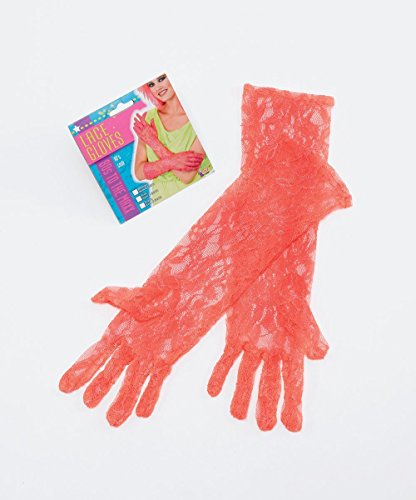 80's Neon Lace Gloves. Orange **SALE**