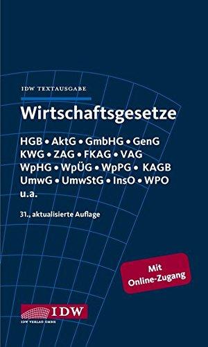 Wirtschaftsgesetze: IDW Textausgabe
