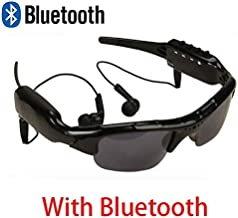Video Sunglasse 1080P Bluetooth Connection Phone Eyewear Sunglasses Camera Music Video Recorder DVR DV MP3 Camcorder Music Glasses with Earphone (with Bluetooth - 0GB)