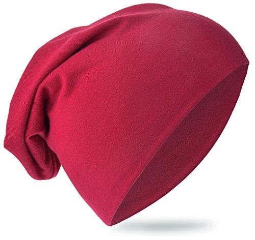 Baby Kinder Jersey Slouch Beanie Long Mütze Unisex Unifarbe Baumwolle Trend, Weinrot, 54-58cm Kopfumfang