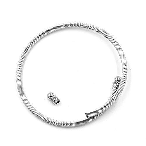 Pulsera de acero de titanio Pulseras de los hombres bricolaje bobina de acero inoxidable pulsera de alambre de acero pulsera de apertura pulsera ajustable