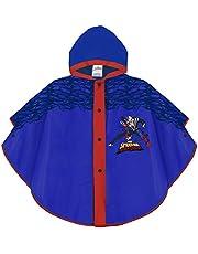 PERLETTI Poncho Impermeable Infantes 3 4 5 6 Años Spiderman Azul Rojo - Chubasquero Niño Marvel Spider Man Superhéroe - Chaquetón de Lluvia Niños Hombre Araña con Capucha Botones