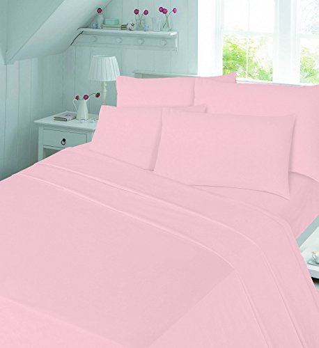 EGYPTO Cotton Flannelette Thermal Winter Duvet Cover Set - Soft Comforter with Pillowcases (Single, Pink)