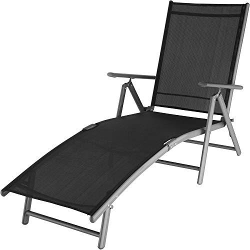 TecTake 800713 Aluminium Sonnenliege, klappbar, witterungsbeständig, mit Armlehnen, Verstellbarer Rückenlehne und Tragegriffe - Diverse Farben - (dunkelgrau | Nr. 403258)