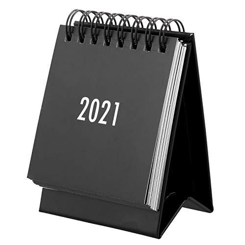 tiopeia Mini Schreibtisch Kalender, August 2020 -Dezember 2021, 7,5 x 5,5 x 10cm, Desktop Kalender für Schule, Büro, Zuhause(Schwarz)