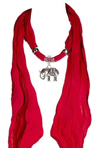 Red Scarf with Elephant, heart, owl, car, cross, Jewelry Necklace Scarf, elephant scarf