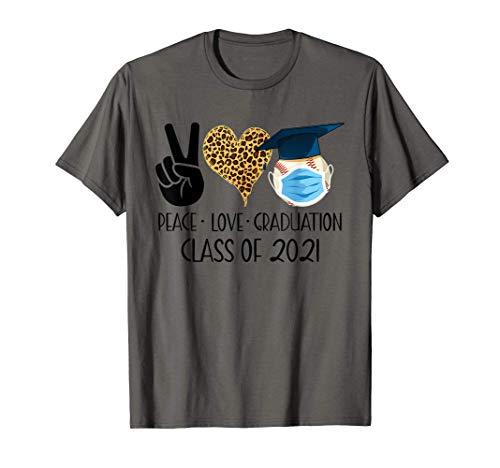 Peace Love Graduation Baseball Senior 2021 Quarantined T-Shirt