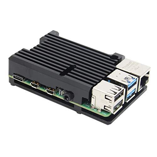 Para Raspberry Pi 4 Modelo CNC Aleación de aluminio Caso con disipadores de calor NO ventiladores (negro)