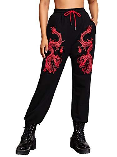 SOLY HUX Women's Drawstring Elastic Waist Dragon Print Sweatpants with Pocket Black XS
