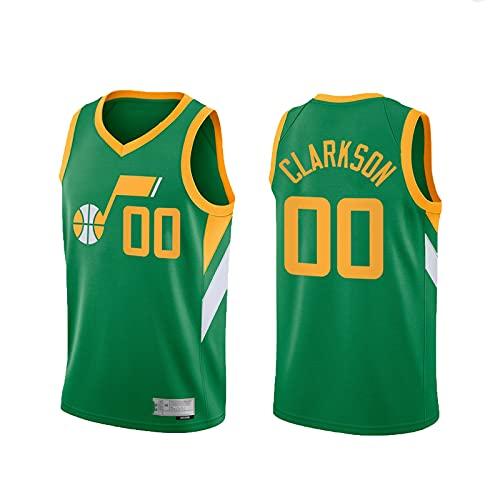 BXWA-Sports Jersey de Baloncesto para Hombres, Jazz de la NBA # 00 Jordan Clarkson Uniforme de Baloncesto Cómodo Malla Transpirable Bordado Unisex Retro Sin Mangas Deportes Chaleco,XL