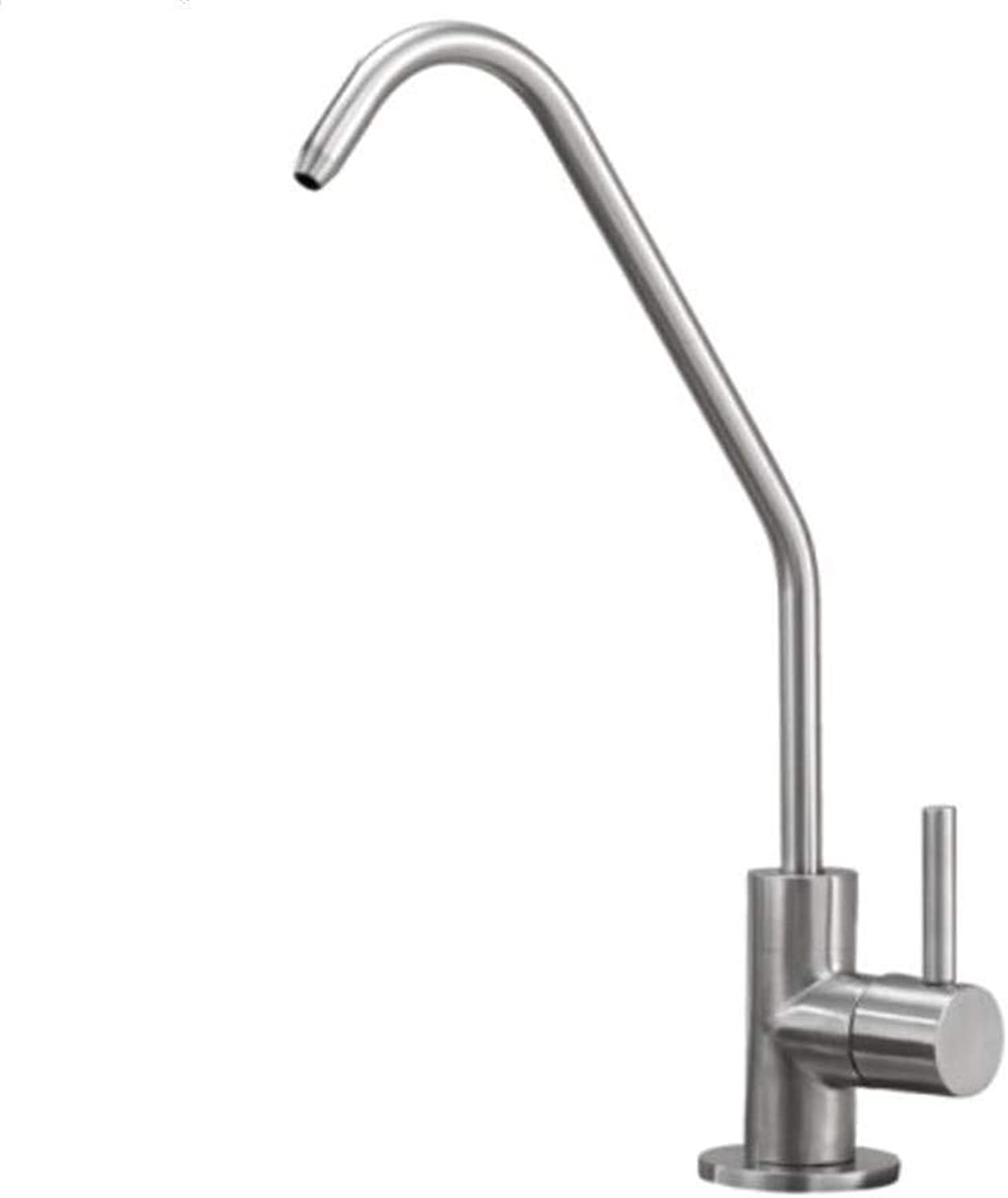 Taps Mixer?Swivel?Faucet Sink 304 Stainless Steel Pure Water Faucet Direct Drinking Water Faucet Kitchen Flume Washing Pot Single Cold Water Faucet