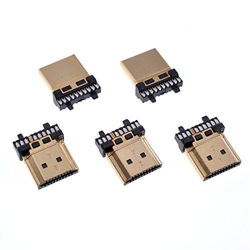 Oiyagai - 5 Conectores HDMI Macho chapados en Oro DE 19 Pines para Reparación de Cables de Soldadura
