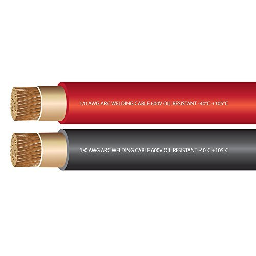 EWCS 1/0 Gauge Premium Extra Flexible Welding Cable 600 Volt - Combo Pack - Black + Red - 25 Feet of Each Color - Made in The USA