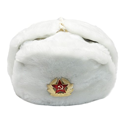 White Fur Winter Ushanka Russian Hat XX-Large Size with Secret Pocket and RED Star Emblem (Removable)