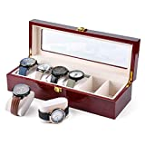 SOLID CASE -- Sturdy wooden structure, brilliant cherry appearance, cream velvet lining and real glass window LARGE COMPARTMENTS -- Each watch cushion holds a small or large watch neatly in place, soft cream pillows are removable. It feels great to t...